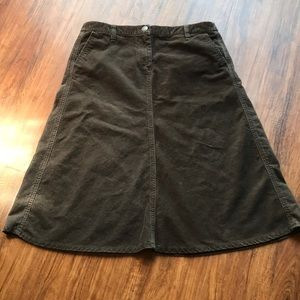 J. Crew chocolate brown corduroy midi skirt size 8